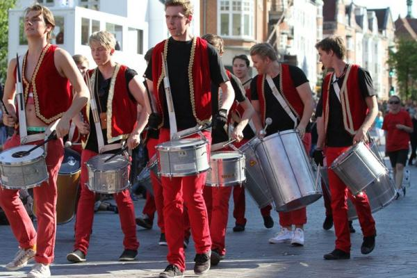 Festival parade with drumming guys