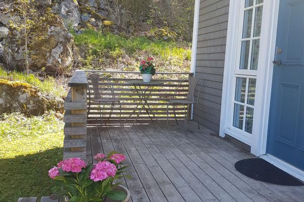 Wooden deck outside the house