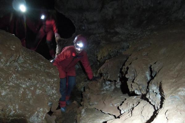 Climbing in caves