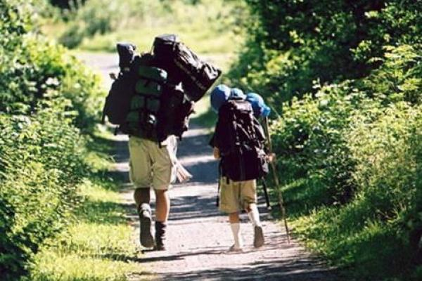 Two hikers on a path